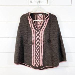 Kate Spade 100% Wool Brown Boho Crochet Poncho